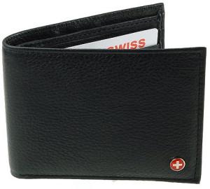 Alpine Swiss Flip-Up ID Leather Wallet For Men